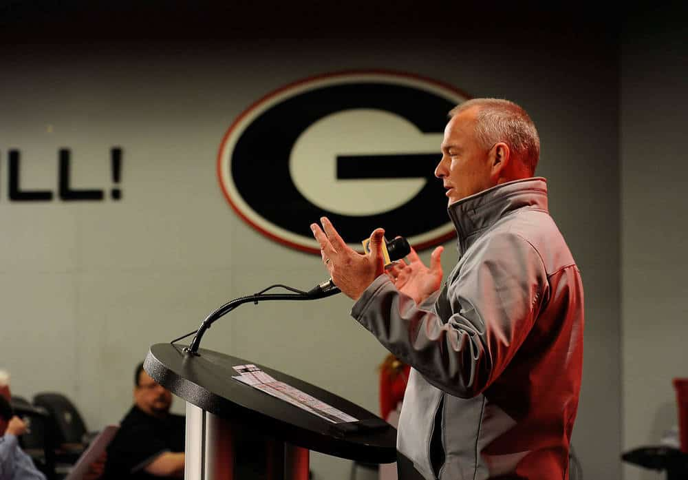 Georgia head coach Mark Richt during Tuesday's press conference to preview the Bulldogs' game against the Auburn Tigers at Jordan-Hare Stadium on Saturday, Nov. 14, 2015 in Auburn, Ala.