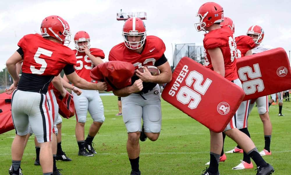 Georgia tight end Jeb Blazevich (83) during the Bulldogs' TaxSlayer Bowl practice at North Florida's Hodges Stadium on Tuesday, Dec. 29, 2015, in Jacksonville, Fla. (Photo by Steven Colquitt)