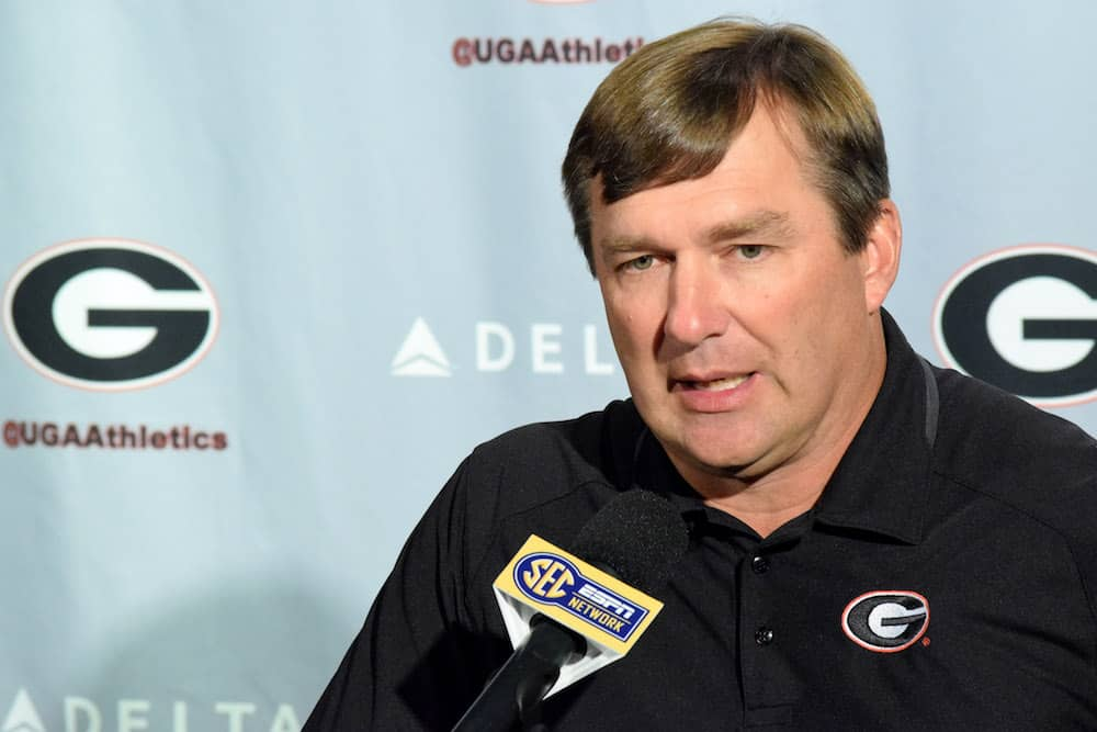 Georgia head coach Kirby Smart answers a question during the Bulldogs' press conference at Butts-Mehre Heritage Hall in Athens, Ga., on Monday, Sept. 12, 2016. (Photo by Steven Colquitt)