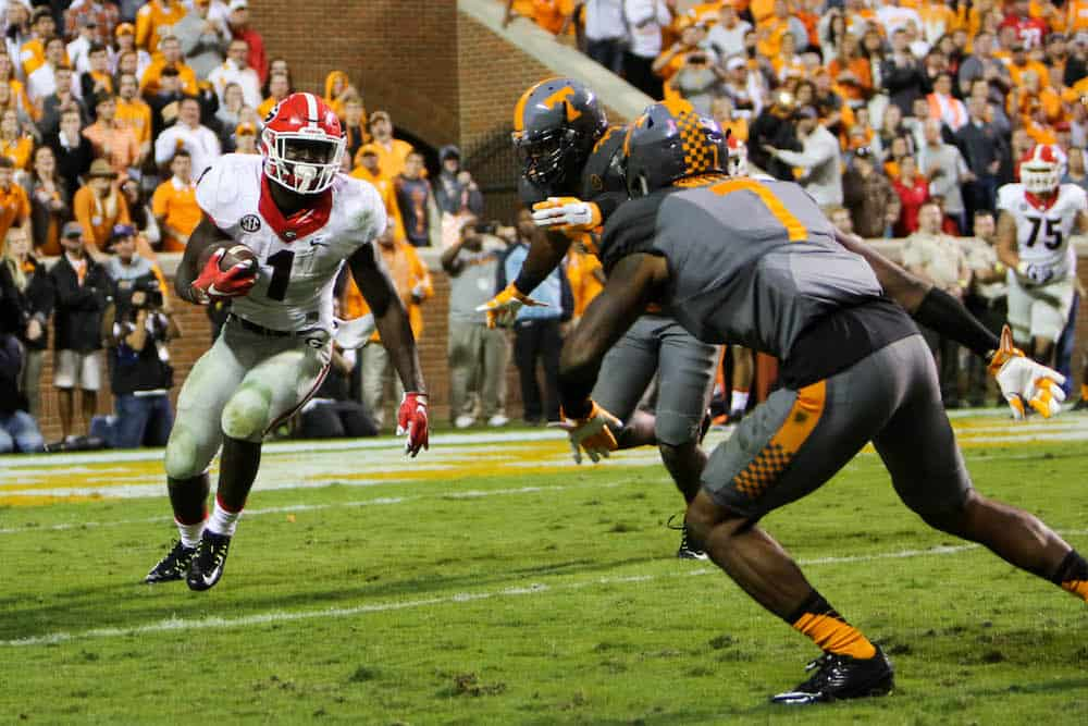 Oct 10, 2015; Knoxville, TN, USA; Georgia Bulldogs running back Sony Michel (1) runs the ball against the Tennessee Volunteers during the second half at Neyland Stadium. Tennessee won 38 to 31. Mandatory Credit: Randy Sartin-USA TODAY Sports