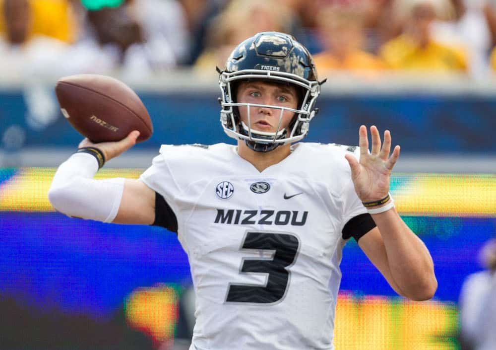 Sep 3, 2016; Morgantown, WV, USA; Missouri Tigers quarterback Drew Lock (3) passes the ball during the third quarter against the West Virginia Mountaineers at Milan Puskar Stadium. Mandatory Credit: Ben Queen-USA TODAY Sports